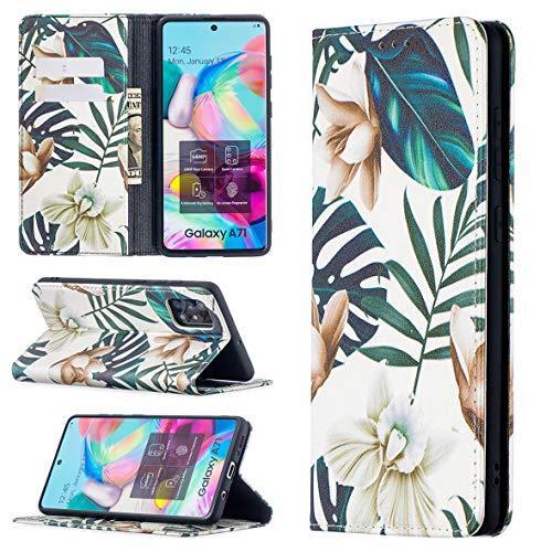 KM-WEN Funda para Samsung Galaxy A71 5G/A716 (6,7 pulgadas), estilo libro, patrón de narciso, adsorción automática, piel sintética, tipo cartera, funda con tapa con soporte, color 6