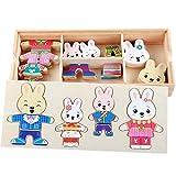 Romote Newin conejo de la estrella de madera familia de Vestir rompecabezas con el caso del almacenaje del rompecabezas de madera de juguete educativo cambiarse de ropa Juguetes