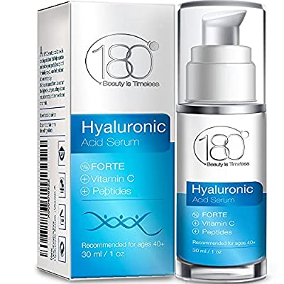 Hyaluronic Acid Serum for Face - Forte Triple Moisturizing Formula with Vitamin C by 180 Cosmetics Beauty is Timeless - Smooth & Rejuvenate Pure Anti Aging Facial Moisturizer for Women - 30 ML by 180 Cosmetics
