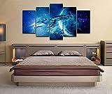 GIRDSS Impression sur Toile Intissée Film Star Trek Starship Enterprise 150X80Cm 5 Pieces Tableau Mural Image sur Toile Photo Images Motif Moderne Decoration Tendu sur Chassis,Tableau Tableaux