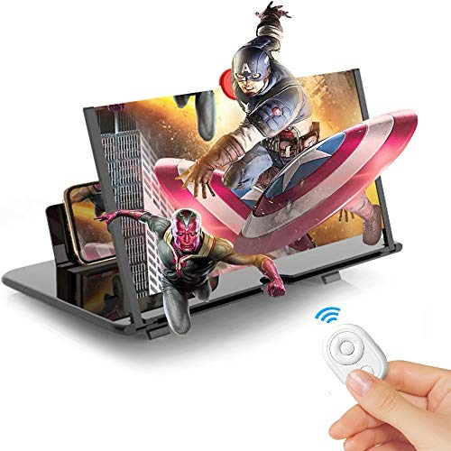 12' Screen Magnifier for Smartphone,3D HD Mobile Phone Magnifier Projector Screen Enlarger for Movies,Videos,Games Cell Phone Holder Stand with Screen Amplifier Compatible with All phones+Phone Remote
