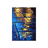 Kfbtbh Paisaje de la Calle del día lluvioso Pintura al óleo Chica con Paraguas Luna Lago Lienzo Pintura Estilo Azul Paisaje Cartel decoración para Sala de Estar 40x60cm