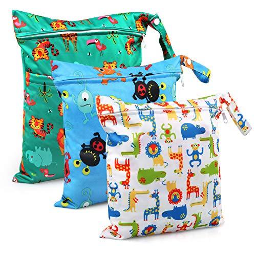 TonStyle Nassbeutel, 3 Stück Windeltasche Wickeltasche, Wetbag Nasstaschen Wiederverwendbare Organiser mit Reißverschluss für Baby Kleinkind