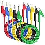 """IGNPION 0.15""""(4mm) 5PC Banana Plug to Crocodile Alligator Clip Test Probe Multimeter Probe Test Lead, Lead Wire Silicone Cable,39.37""""(100cm) (5pcs colors)"""