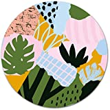 Abstract Summer Leave Floral Round Mouse Pad for Women,Office Mouse Pad,Modern Mouse Pad,Pretty Girly Mouse Pad