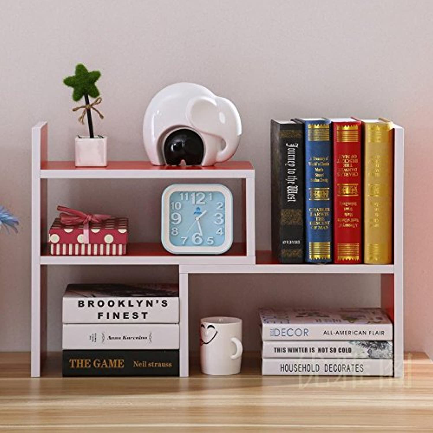 Creative telescoping bookshelves desktop bookshelves table shelf rack shelf easy office little bookshelf , Red (high-end)
