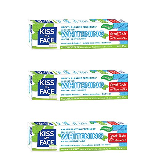 Kiss My Face Gel Teeth Whitening Fluoride Free Toothpaste (Pack of 3), Tea Tree, 13.5 Ounce (2434503EAF)