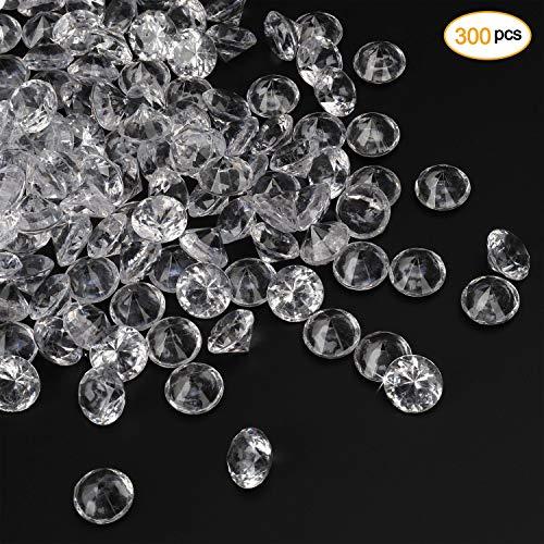 Diamante de Acrílico Cristales Gigante Ø20mm 300x Claro Decoración Confeti Mesa Boda Fiesta Dispersión Transparentes Gemas para Cumpleaños, Bebé Ducha, Navidad