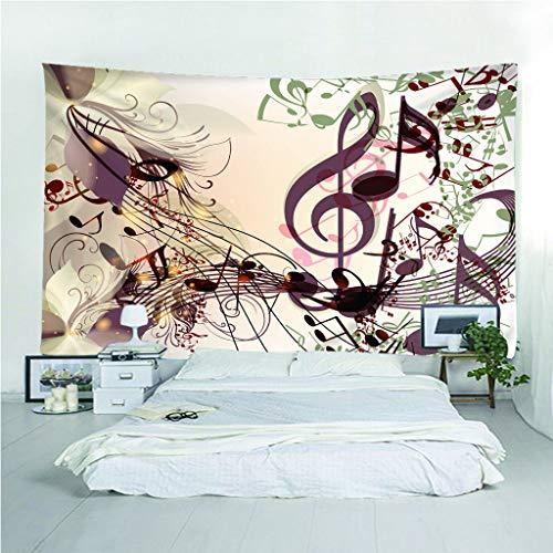 Fymm✞shop Wandtapijt, 3D-print, muziek, knijperig, creatief, licht en draagbaar, multifunctioneel, strandwerp, wandbehang 220(H) X240(B) Cm