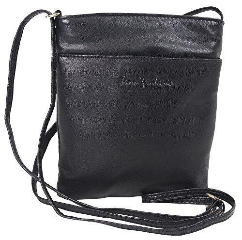 Kleine Jennifer Jones Taschen Damen 100% Leder Damentasche Handtasche Schultertasche Umhängetasche Tasche klein Crossbody Bag (Schwarz)