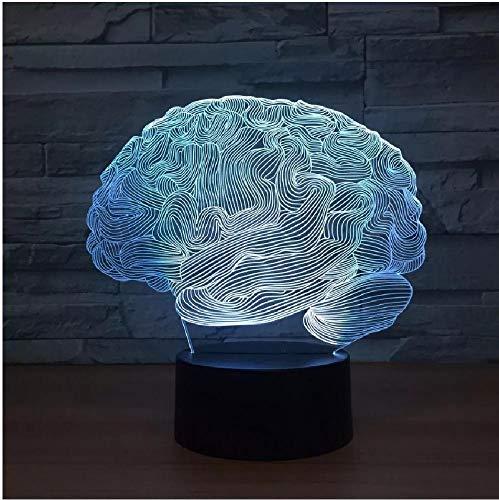 Usb novedad luz cerebro 3D lámpara de ilusión óptica 7 colores cambiantes luz nocturna mesa de escritorio táctil luz decoración de oficina en casa
