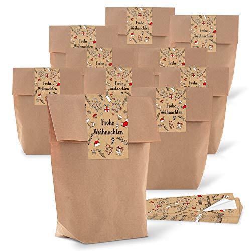 25 kleine Weihnachten Papiertüten braun natur 14 x 22 x 5,6 cm + 25 Aufkleber LEBKUCHEN-MANN beige schwarz rot weiß Geschenk Verpackung bio Kraftpapier weihnachtlich vintage zum Füllen