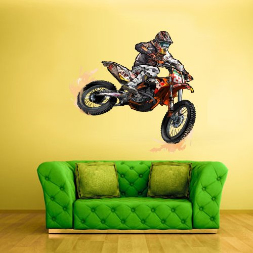 STICKERSFORLIFE Full Color Wall Decal Mural Sticker Decor Art Poster Gift Dirty Bike Motocross Jump Motocycle Dirt Moto (Col334)