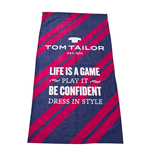 TOM TAILOR Frottier/Velour Strandtuch/Badetuch *Life is a Game* 85x160 cm