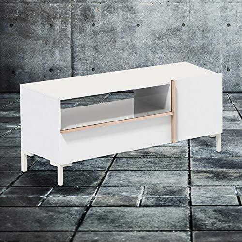 Phönix 226203WEE Beijing Lowboard mit Schublade, Tür und offenem Regalfach, weiß / eiche-sägerau
