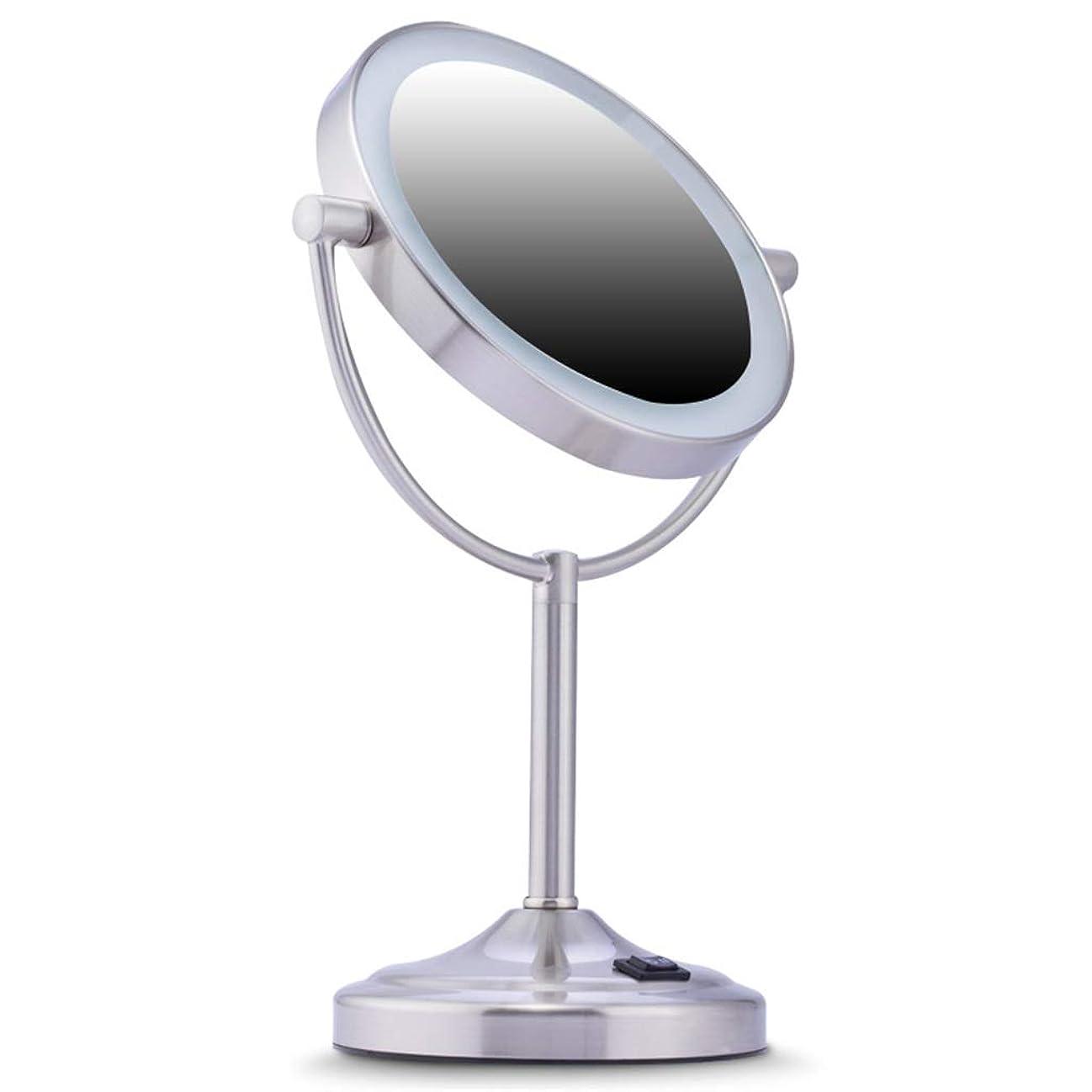 パック軍艦作業メイクアップミラーLed卓上ミラーライトダブルサイドミラー+ 7x拡大鏡360°回転Hd Dimmableステンレス鋼