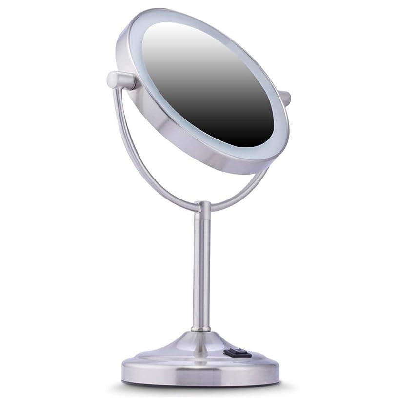 強い暴徒体操メイクアップミラーLed卓上ミラーライトダブルサイドミラー+ 7x拡大鏡360°回転Hd Dimmableステンレス鋼
