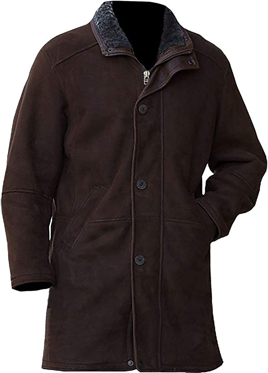 UGFashions Men's Robert Mire Sheriff Suede Leather Dark Brown Jacket Trench Coat