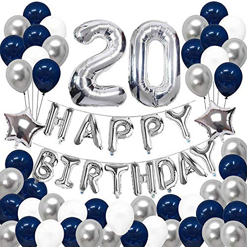 JinSu 20 Ans Anniversaire Ballons Décorations pour Garçon Homme, 68 Pcs Kit Happy Birthday Bannière, Argenté Ballon Numéro 20, Ballon Aluminium Helium à Étoile, Ballons en Latex