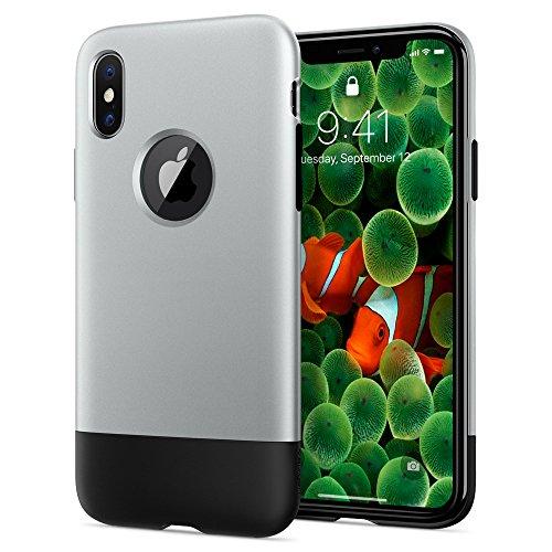Spigen Funda iPhone X, [Classic One] Edición Especial iPhone 1.ª Generación de 10º Aniversario y Tecnología Air Cushion con Protección iPhone X - Aluminum Gray (057CS23345)