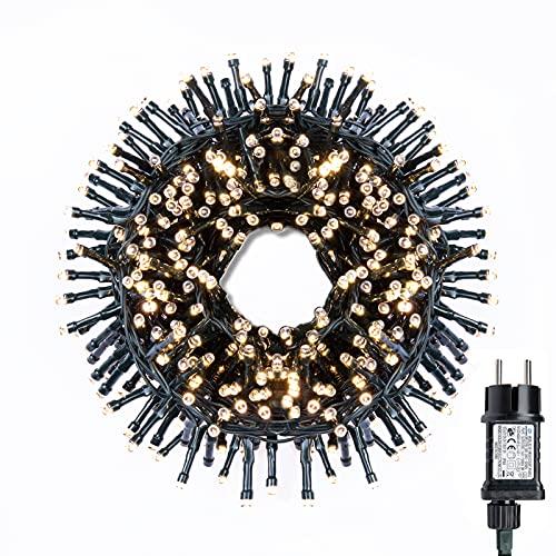 gresonic-Led-Cluster-6m lang-Lichterkette-Strombetrieb Deko für Innen Außen Garten Weihnachtsbaum Hochzeit (Warmweiss Timer, 300LED)