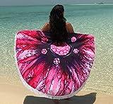 Round Beach Blanket Large Circle Mandala Beach Towels, Microfiber and Sandfree, Beach Towel, Circular Yoga Mat or Meditation Rug, Vibrant Pink or Purple Design with Tassels, Suits Boys Girls Adults