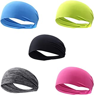 Calbeing Workout Headband for Women Men - Non Slip Sweatband - Stretchy Soft Elastic Head Band - Sports Fitness Exercise T...