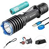 Olight Warrior X Pro Lampe Torche Tactique 2250 lumens / 600 mètres LED Blanc Neutre, Lampe de Poche Magnétique Rechargeable Puissante pour Chasse Militaire, avec batterie 21700 + Boîtier de Batterie