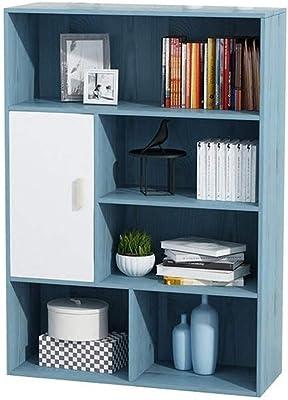 書棚 開いた立方体が付いている本箱は自由で永続的な本だなの収納ユニットおよび飾り戸棚を青く棚付けします (色 : 青, サイズ : 80*24*109cm)
