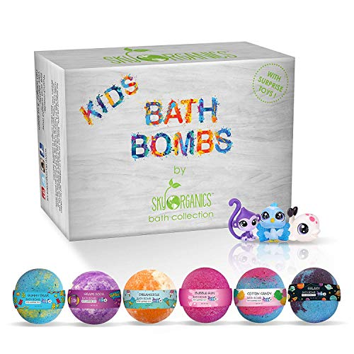 Kids Bath Bombs Gift Set with Surprise Toys Inside Fun Assorted Colored XL Bath Fizzies, Kid Safe, Gender Neutral with Natural Essential Oils -Handmade in the USA Bubble Bath Fizzy, (6ct x 5oz)