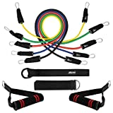 Bionix Exercise Resistance Bands and Workout Fitness Set - 5 Tubes, 2 Hand Grips, Door Anchor, Ankle Straps, Carrying Pouch | Yoga, CrossFit, Pilates, Physio <span class='highlight'>Home</span> <span class='highlight'>Gym</span> Equipment For Arm Legs & Glutes