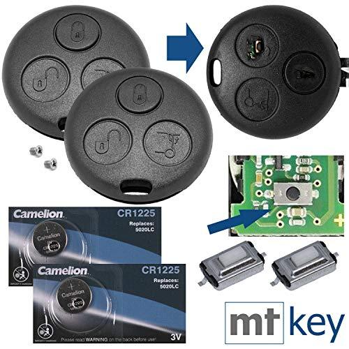 Auto Schlüssel Funk Fernbedienung 2x Gehäuse 2x Mikrotaster 2x CR1225 Batterie 2x Passende Schraube für Smart 450 1998-2007