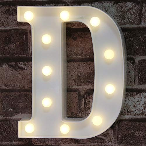 LED Marquee Letter Lights Sign, Light Up Alphabet Letter for Home Party Wedding Decoration D