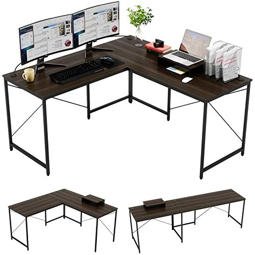 "Bestier L-shaped computer desk, 95.2"" Two Person Large Gaming Office Desk, Adjustable L-Shaped or Long Desk Two Method with Free Monitor Stand, Home Writing Desk Table Build-in Cable Management (Brown"