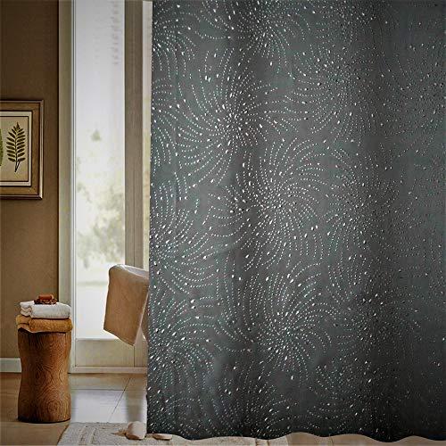 VAELSON Duschvorhang 180x180 cm Diamond Spiral Black Vorhang incl. Ringe mit verstärkte Lochleiste & Gewichtsaum