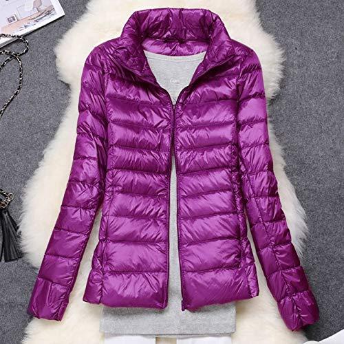 YRFHQB Frauen Wintermantel New Ultra Light Daunenjacke Slim Frauen Winter Warm Puffer Jacke Portable Windproof Daunenmantel S Purple