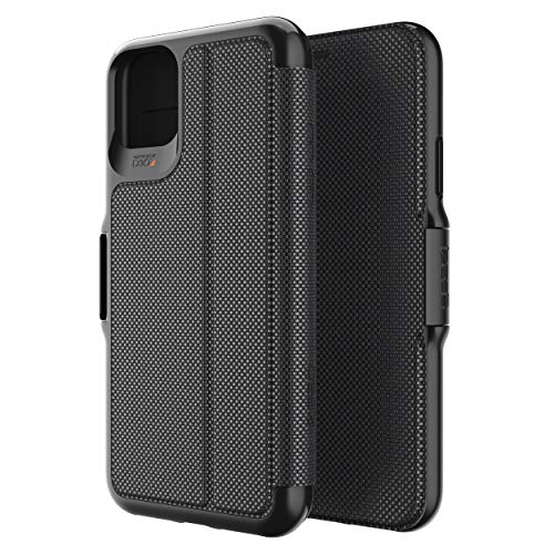 GEAR4 Oxford Eco Folio Compatible with iPhone 11 Pro Max Case, Recycled-Plastic Phone Cover, Advanced Impact Protection with Integrated D3O Technology, Booklet Case – Black