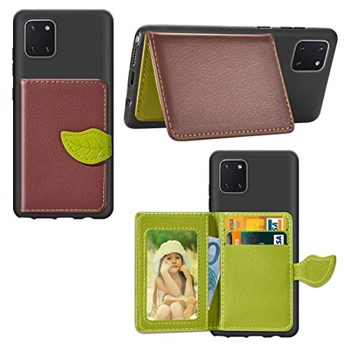 MDYHMC YXCY AYSMG for Galaxie-Anmerkung 10 Lite / A81 Blatt Buckle Litchi Texture Kartenhalter PU + TPU Fall mit Karten-Slot & Wallet & Holder & Photo Frame (Schwarz) (Color : Brown)