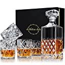 Lighten Life Whiskey Decanter Sets, Italian Style Decanter Set with 4 Glasses