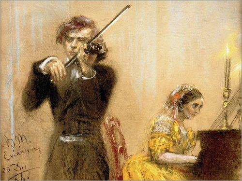 Leinwandbild 90 x 70 cm: Clara Schumann und Joseph Joachim musizieren von Adolph von Menzel / akg-images - fertiges Wandbild, Bild auf Keilrahmen, Fertigbild auf echter Leinwand, Leinwanddruck