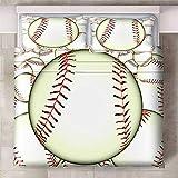 Teqoasiy - Funda Nórdica De Edredón King Size - 3D Verde Deportes Béisbol 200x200cm Funda Nórdica De Tres Piezas - De Ropa De Cama con 2 Fundas De Almohada King - Chico Niña Cuarto De Los Niños