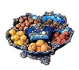 DECORACION FHW Pintado a Mano Azul Resina de Lujo Europea con Tapa Tapa de Fruta Seca Sala de Estar Encimera Mesa de café Plato de Fruta Americana Hogar casera Creativa