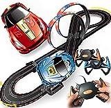 LINANNAN Race Car Track, Tracer Racers R/C Control Remoto de Alta Velocidad Super Bucle Speedway Glow Track Set para el Cambio en Las Carreras de Go, 5.4M