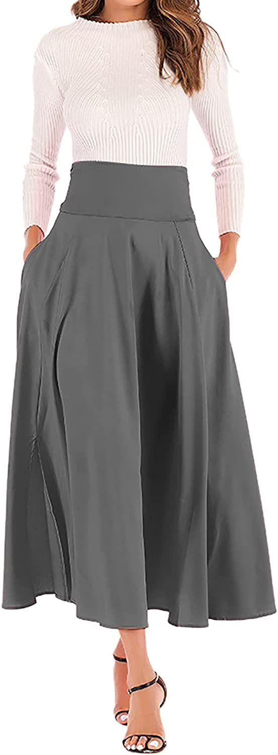 Women's Solid High Waist Pleated A-Line Flared Bow Knot Office S