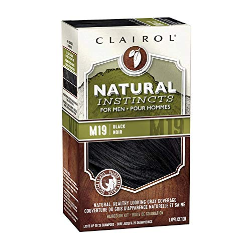 Clairol Natural Instincts Semi-Permanent Hair Dye Kit for Men, Black, 3 Count