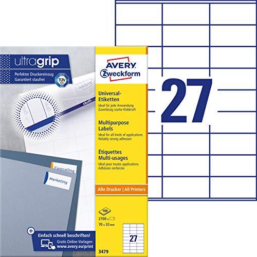 AVERY Zweckform 3479 Universal Etiketten (2.700 Klebeetiketten, 70x32mm auf A4, Papier matt, individuell bedruckbar, selbstklebende Aufkleber mit ultragrip) 100 Blatt, weiß