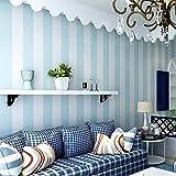 Fondo de pantalla 3D Cómodo dormitorio papel pintado no tejido rayas blancas azules papel pintado características de la pared rayas verticales papel tapiz decoración del rollo-350cmx245cm
