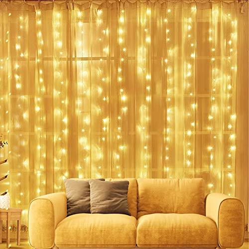 Cadena de luces para ventana, 3 m x 3 m, 300 luces LED, con 8 modos, impermeable, con mando a distancia y temporizador, para fiestas en el jardín en interiores y bodas (blanco cálido)