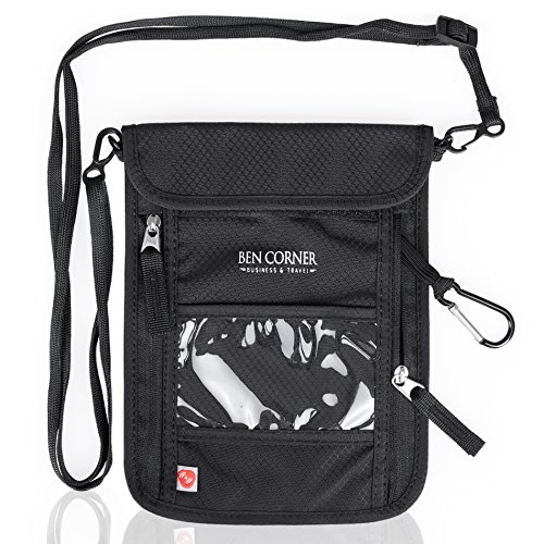 Ben Corner Brustbeutel mit RFID-Blockierung und Karabinerhaken inkl. Travel E-Book - Wasserdichter...
