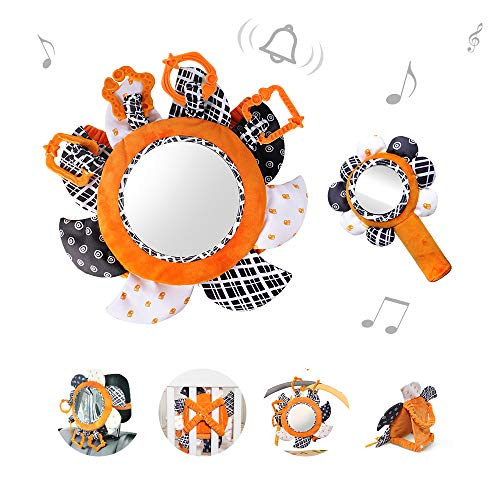 TUMAMA Tummy Time Baby Floor Mirror with Plush Rattles Rings Sun Flower Sets, Baby Car Mirror for Back Seat Activity Stroller Hanging Toy for 0 3 6 9 to 12 Months, Shower Gifts Sets (2 Packs)